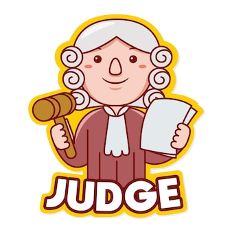 Juez, trabajador, profesión, mascota, logotipo, vector, en, caricatura, estilo
