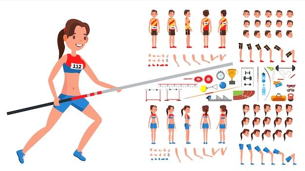 Jugador de atletismo masculino, femenino vector. conjunto de creación de personajes animados de atleta. hombre, mujer longitud total, frontal, lateral, vista posterior, accesorios, poses, emociones faciales, gestos