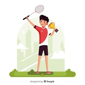 Jugador de bádminton con raqueta y volante