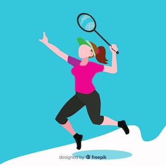 Jugador de bádminton con raqueta