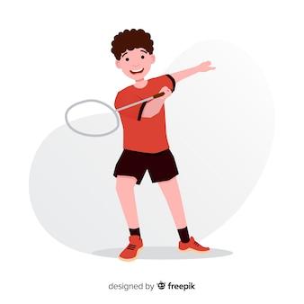 Jugador de bádminton con una raqueta