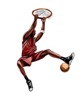 Jugador de baloncesto abstracto con bola de salpicaduras de acuarelas dibujo coloreado realista