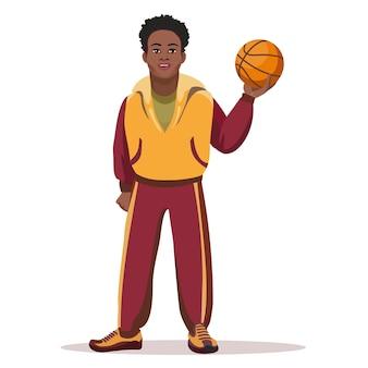 Jugador de baloncesto con balón aislado en blanco.