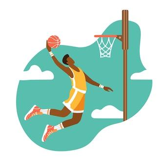 El jugador de baloncesto lanza la pelota en el ring. ilustración plana