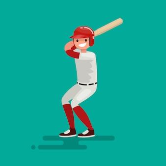 Jugador de bateador de béisbol con ilustración de bate
