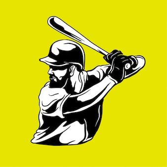 Jugador de béisbol dibujado a mano ilustración