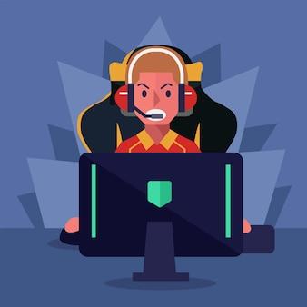 Jugador de ciber e-sport