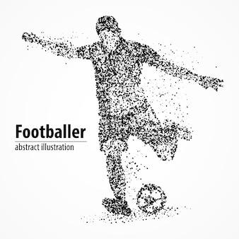 Jugador de fútbol abstracto pateando la pelota fuera de los círculos negros. ilustración.