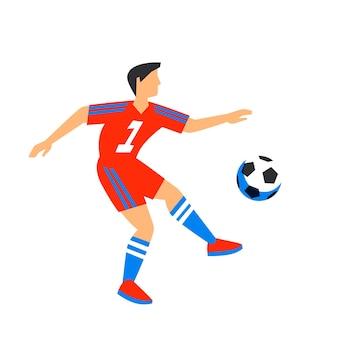 Jugador de fútbol abstracto en rojo con bola