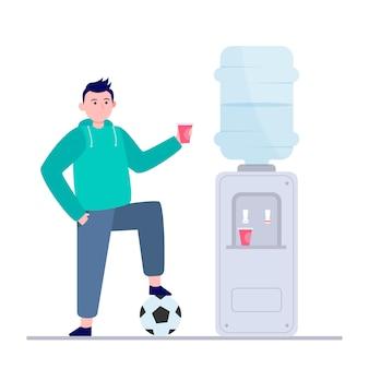Jugador de fútbol con agua potable en el refrigerador