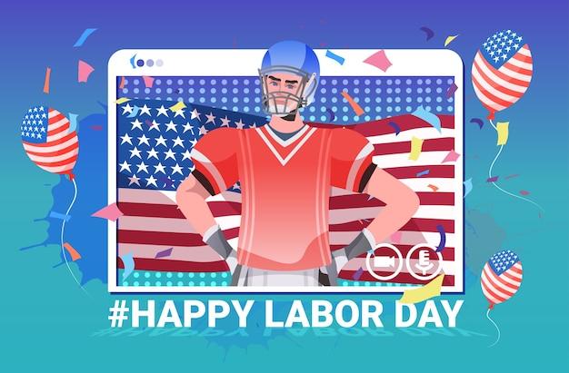 Jugador de fútbol americano con bandera de estados unidos feliz celebración del día del trabajo