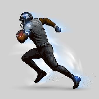 Jugador de fútbol americano corriendo