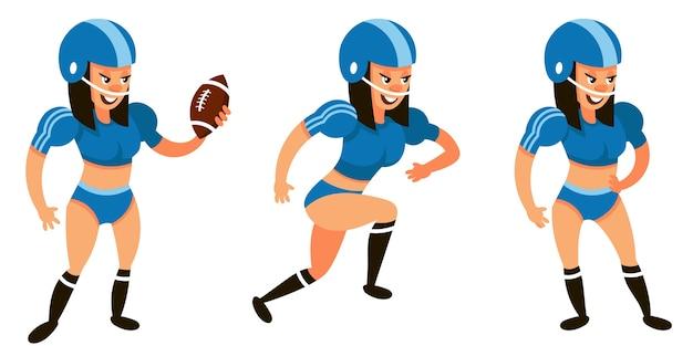 Jugador de fútbol americano en diferentes poses. personaje femenino en estilo de dibujos animados.