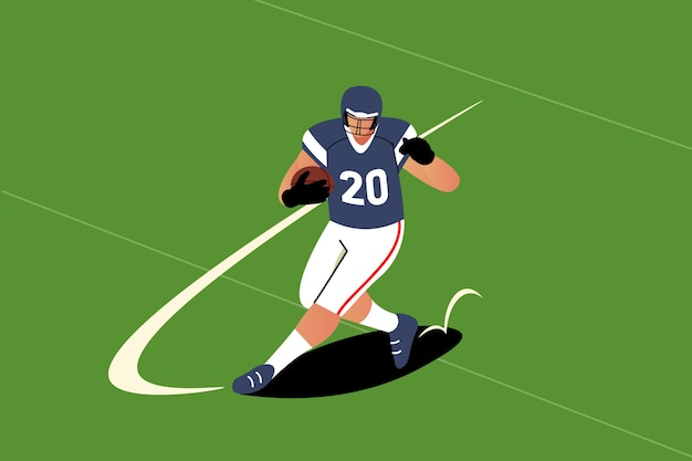 Jugador de fútbol americano de diseño plano