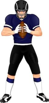 Jugador de fútbol americano posando y sosteniendo una pelota