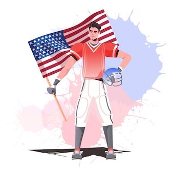 Jugador de fútbol americano sosteniendo la bandera de estados unidos feliz celebración del día del trabajo