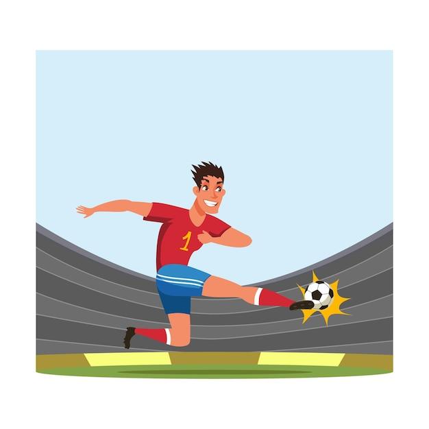 Jugador de fútbol, futbolista golpeando la pelota.