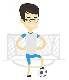 Jugador de fútbol con la ilustración de la bola.