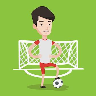 Jugador de fútbol con la ilustración de vector de bola.