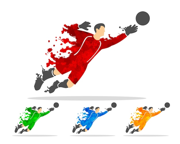 Jugador de fútbol o fútbol en una acción con splash splat y acuarela