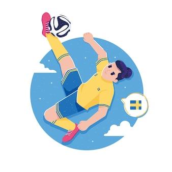 Jugador de fútbol pateando la pelota