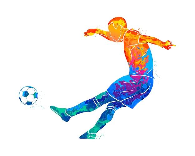 Jugador de fútbol profesional abstracto disparar rápidamente una bola de salpicaduras de acuarelas. ilustración de pinturas