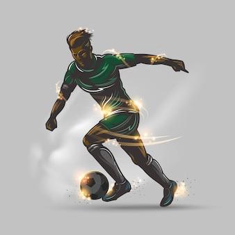 Jugador de fútbol con uniforme verde correr con pelota
