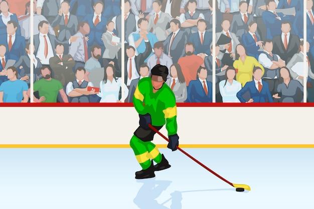 Jugador de hockey en una pista