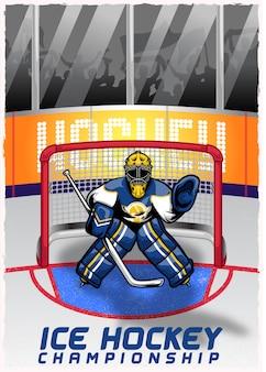 Jugador de hockey sobre hielo en el estadio