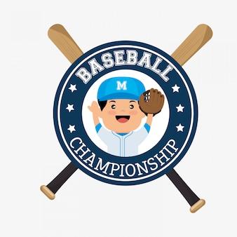Jugador de insignia del campeonato de béisbol con murciélagos