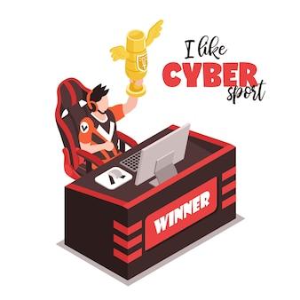Jugador isométrico del ganador del deporte cibernético detrás de la computadora que sostiene la ilustración del trofeo de oro