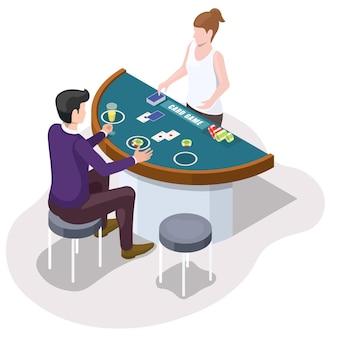 Jugador jugando al juego de cartas de casino sentado en la mesa de juego con baraja de cartas y fichas, ilustración isométrica vectorial.