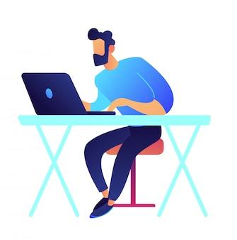 Jugador con laptop sentado en la ilustración de vector de escritorio.