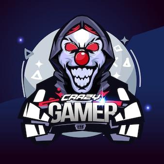 Jugador loco. concepto de jugador bromista. logotipo de e-sport - ilustración vectorial