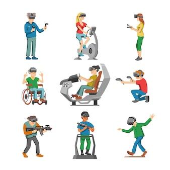 Jugador de personajes de realidad virtual con gafas vr y persona jugando en la ilustración de tecnología de virtualización conjunto de personas jugando en prácticamente juego aislado sobre fondo blanco.