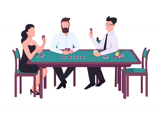 Jugador de personajes sin rostro de color plano. mujer mira la tarjeta. hombre sujetando la cubierta. jugador masculino con pila de fichas. juega con oponentes. tres personas se sientan en la ilustración de dibujos animados de casino aislado