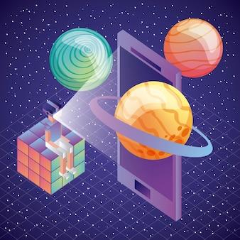 Jugador sentado en el cubo de rubik con vr gafas teléfono planetas 3d