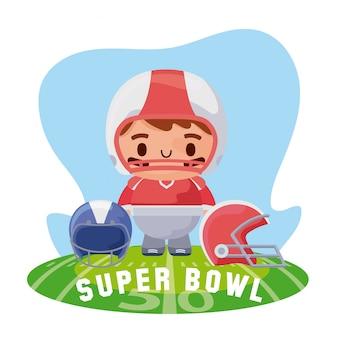 Jugador de super bowl con cascos sobre ilustración de campo