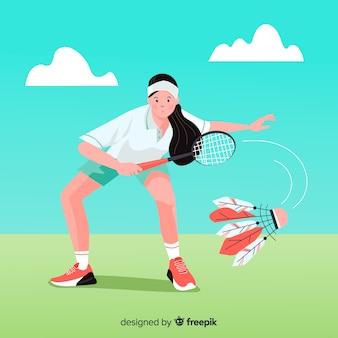 Jugadora de bádminton con raqueta y volante