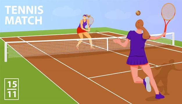 Jugadoras de tenis de mujer. partido de tenis