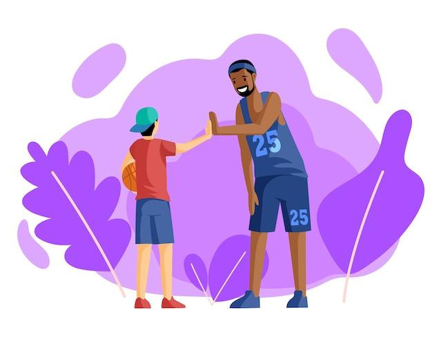 Jugadores de baloncesto feliz dando cinco alta ilustración plana. entrenamiento deportivo, actividad. espíritu de equipo, entrenador en uniforme y pequeño jugador de baloncesto con personajes de dibujos animados de pelota