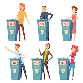 Jugadores de concurso. programa de televisión personajes responder preguntas entretenimiento juegos inteligentes imágenes de dibujos animados