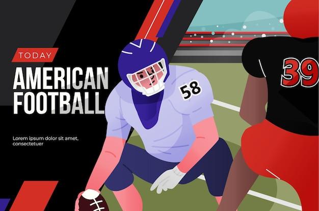 Jugadores de fútbol americano y campo de fútbol.