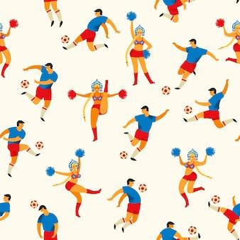Jugadores de fútbol y chicas animadoras en estilo ruso