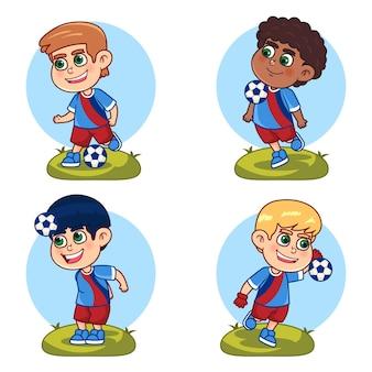 Jugadores de fútbol de dibujos animados