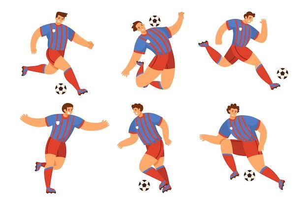 Jugadores de fútbol de diseño plano
