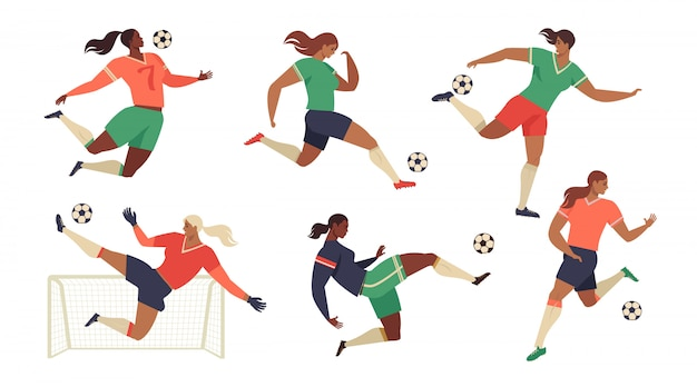 Los jugadores de fútbol de fútbol femenino los aficionados conjunto de equipo aislado.