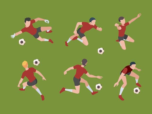 Jugadores de futbol. personajes deportivos, jugadores de fútbol en poses activas, portero, adultos isométricos, personas 3d.