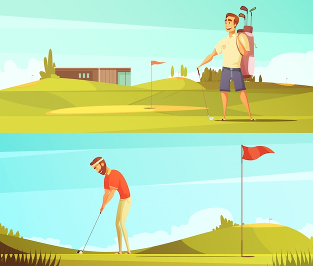 Los jugadores de golf en el curso 2 banderas horizontales de dibujos animados retro conjunto con pin rojo bandera vector aislado illu