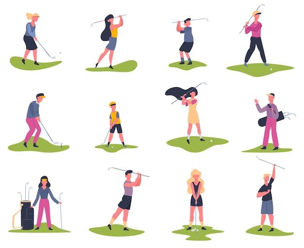 Jugadores de golf. gente jugando al golf, golfistas golpeando la pelota, actividad exterior de verano, conjunto de ilustraciones de personajes de golf. juego de golf y deporte hombre jugador.